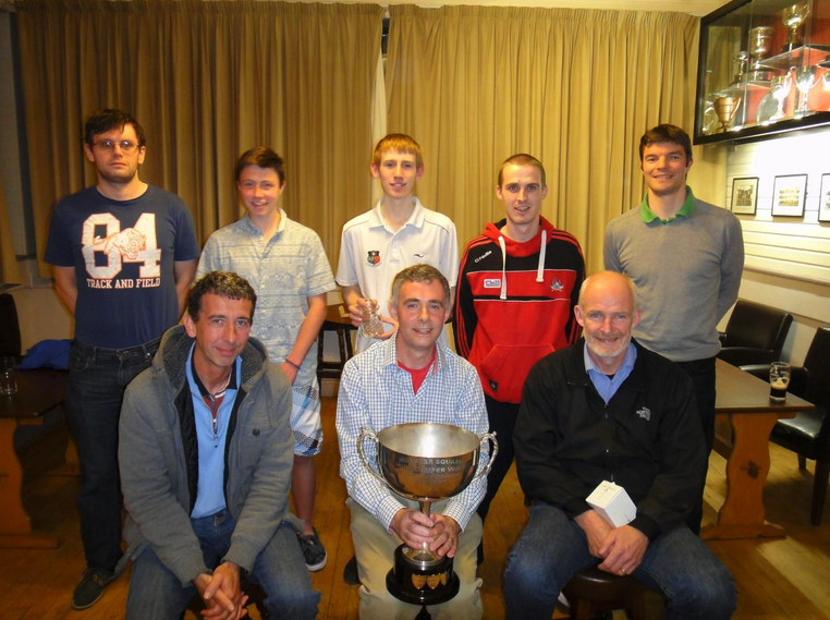Back Row (L-to-R): Brendan Lawton (Munster President), Barry Lynch, Paul O'Mahony, Ricky Chisholm, MJ McDonnell (Munster Captain). Front Row (L-to-R): Ian O'Brien, Tony O'Brien, Brian O'Sullivan.